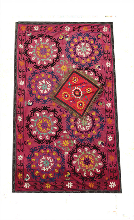 Authentic Uzbeki  Silk Sozni (Suzani) and Silk Pillow Case Embroidery First Half on the 20th Century