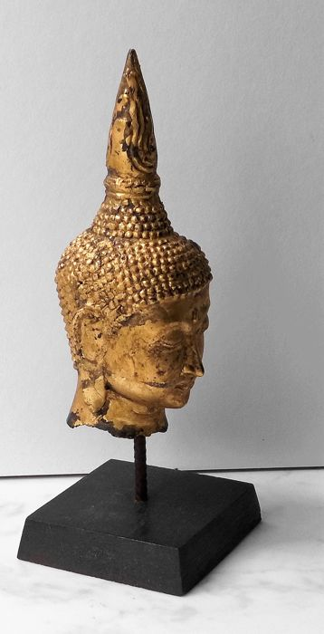 Buddha head, bronze, plated with gold leaf - Thailand - second half 20th century