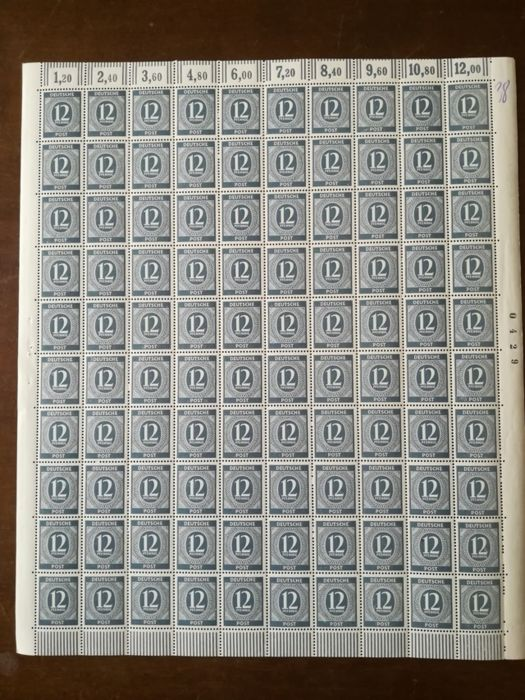 Germany 1946 -- Gemeinschaftsausgaben  Michel no. 920C complete sheet with plate number