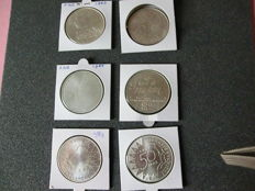 The Netherlands – 50 guilder 1982, 1984 and 1987 Beatrix (6 pieces in total) - silver
