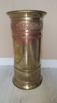 Extra large (50 cm) yellow with red copper umbrella stand, 2nd half 20th century