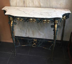 Console table in patinated bronze and marble stone top, from the half of the 20th century