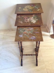 Mimiset of 3 side tables with painted top - France - ca. 1890