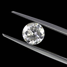 1.63 Ct. Natural E Color I1 Round brilliant cut diamond.