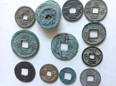 China – 16 AE coins, Pre Qin (starting from 350 B.C.) to Ming (pre 1644).