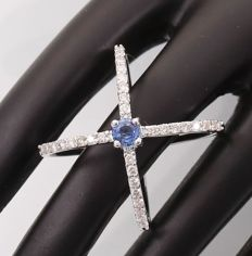 14kt White Gold Solitaire ring with Blue Sapphire and Diamond 0.58 ct - size 54 - ***no reserve price***