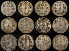 "Holland – Double ""wapenstuivers"" 1725/1789 (12 different coins) – silver"
