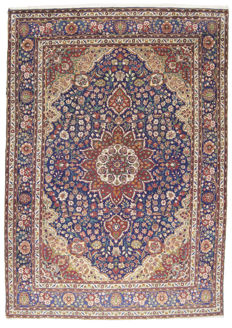 (SIZE: 355 x 250 cm) ANTIQUE authentic Persian carpet, genuine (HAND-knotted) (TABRIZ PERSIA IRAN) (FROM 1940-1950) With certificate of authenticity from official appraiser – (Galleriafarah1970) 94712