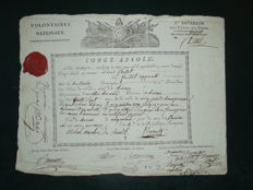 Absolute leave signed by the General DRUT 1st battalion of the North division of the national volunteers 1794