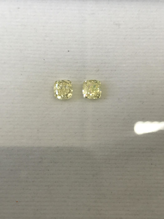 Pair of Square Cushion Modified Brilliant  1.21ct total. Natural Fancy Intense Yellow  SI2-SI2 IGI #121MP -original image -10x