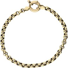 14 kt Yellow gold belcher link bracelet with a fantasy spring ring clasp – Length: 21.2 cm
