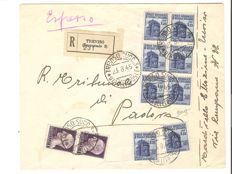Italy, 1945 - Mixed franking - RSI / Lieutenancy - Used on registered envelope from Treviso to Padova (1.25 lire + block of 6 + 2; 1 lire pair).