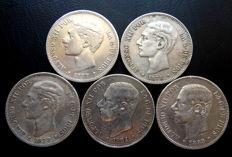 Spain – 5 pesetas, 1877–1885 (including 1979) – Alfonso XII – 5 coins – All are different – Silver