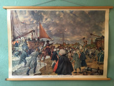 School poster Arrival William I in Scheveningen. 1813 complete with booklet