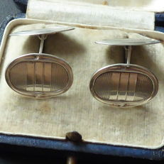 Pair of antique silver cufflinks in Art Deco style, approx. 1900