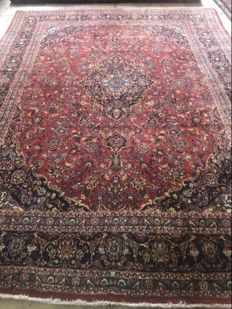 Hand knotted persian kashan rug size:395x300 cm retro