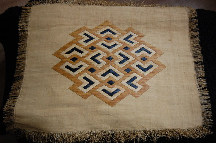 Tribal floor or wall mat - hand-woven grass - DR Congo - second half 20th century