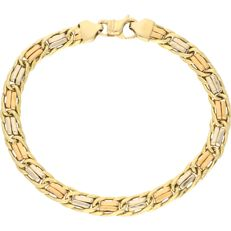 18 kt Tricolour link bracelet with yellow gold, white gold and rose gold links - Length: 19.2 mm