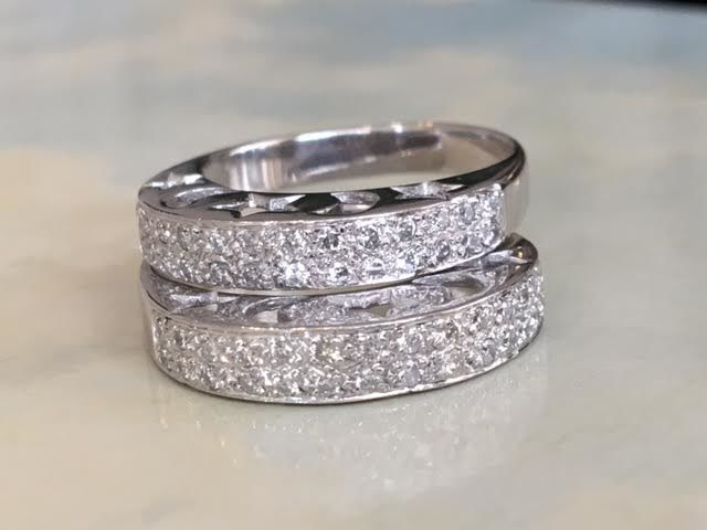Zoughaib - 18 kt pair of white gold rings with diamonds approx. 0.60 ct G/VS