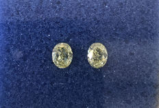 Pair of Oval Modified Brilliant  1.04ct total. Natural Fancy Intense Yellow  SI1-SI2 #104AB  Low reserve price