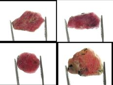 Natural Unheated Ruby Crystals - 1,2 to 2,4cm - 75,45ct/15,10gm (4)