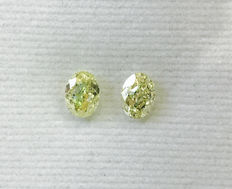 Pair of Oval Modified Brilliant  1.12ct total. Natural Fancy Intense Yellow  SI2-SI2 #112MP Low Reserve Price