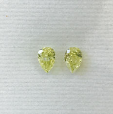 Pair of Pear Modified Brilliant  0.86ct total. Natural Fancy Intense Yellow - Fancy Yellow  SI2-SI2  IGI #86MP  -original image -10x