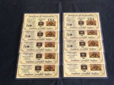 24k gold, USA American, certified 10x1grain, 999 gold bullion in credit card size and certificate
