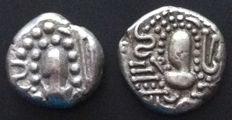 India - AR Drachme (Post-Gupta) ± 950-1050 AD (2 pieces) - silver