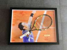 Rafael Nadal framed signed Babolat tennis racket with photo of the signing moment and certificate of authenticity