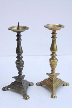 Two similarly shaped pin candlesticks of different origin, Belgium, ca. 1950