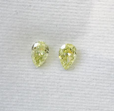 Pair of Pear Modified Brilliant  1.5ct total. Natural Fancy Intense Yellow - Fancy Yellow  SI2-I1  #150MP - low reserve price