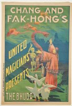 """Anonymus -  Chang and Fak-Hong's United Magicians presents  """"The Bhuda"""" - 1928"""