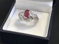 Ruby and diamond ring, size 15 (IT)