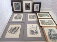 Lot of etchings and prints and 3D drawings by Anton van Pieck