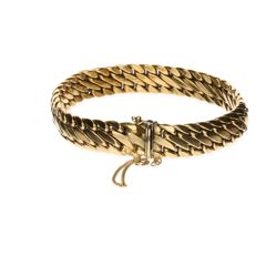 Yellow gold double curb link bracelet of 14 kt - Length: 20 cm