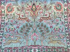 SILK CARPET – KASHMIR SILK 'paradise' pattern with deer and birds – approx. 152 x 93 cm – with certificate of authenticity
