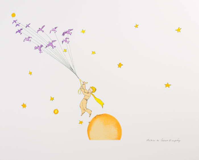 Antoine de Saint-Exupéry (after) - Le Petit Prince en route vers une autre planète (The Little Prince Flying Away)
