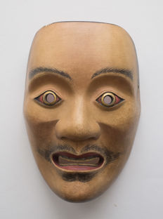 Wooden Noh mask of Kumasaka, a famous thief from the Heian-dynasty With a brand - Japan - 2nd half of the 20th century