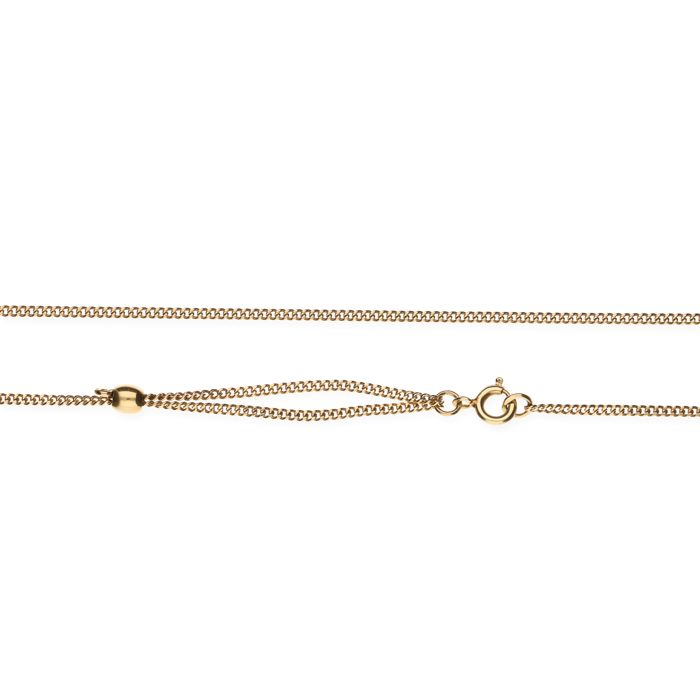 14 kt Yellow gold curb link necklace with a variable length - 72 cm