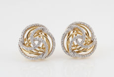 14 kt yellow gold diamond earrings, 0.48 ct, 69 brilliant cut diamonds - 15 mm