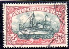 German colonies - German East Africa - 1901 - emperor's yacht, 3 Rupees red/green-black, Michel 21b