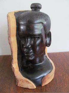 Magnificent ebony sculpture - man's head