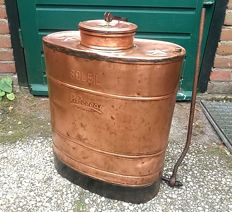 P. Perras - Soleil - authentic old copper agricultural spray pump, spray container for spraying crops
