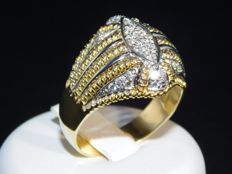 White and yellow gold (18 kt) unisex ring with diamonds (0.33 ct) – size 25 IT / 65 EU / 11 US / W UK