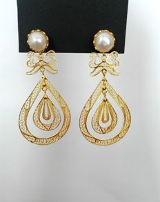 19.25kt 800 gold earrings. Hand-crafted Portuguese filigree