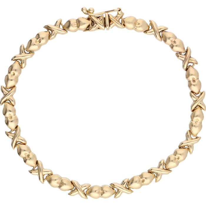 14 kt Yellow gold fantasy link bracelet with heart shapes - Length: 19 cm