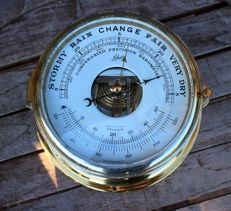 SCHATZ ship's barometer/thermometer in solid brass housing