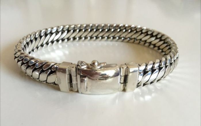925/1000 sterling silver bracelet – total length: 22.5 cm –