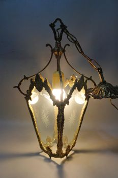 Bronze pendant light with cut glass - first half of 20th century